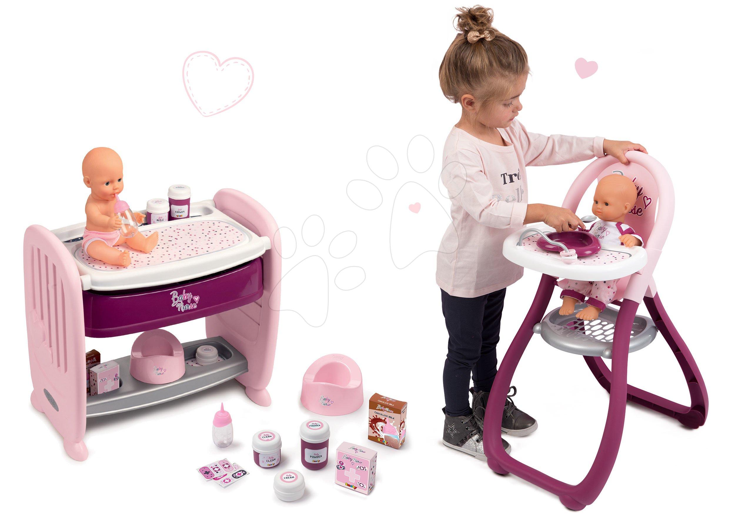 Set pătuț de păpușă lângă pătuț de copil cu pult de înfășat Violette Baby Nurse 2în1 Smoby cu păpușă, care face pipi și scaun de masă