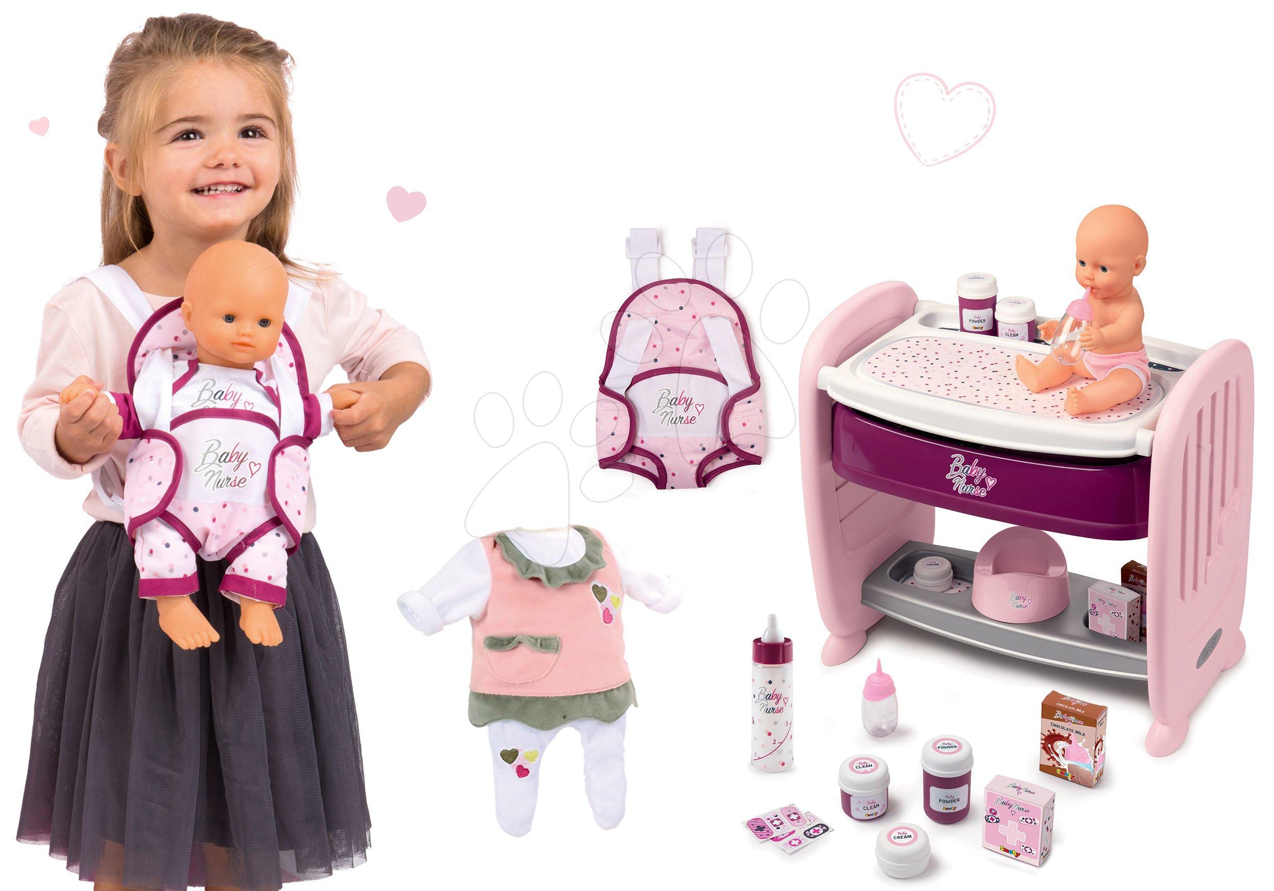 Set pătuț de păpușă lângă pătuț de copil cu pult de înfășat Violette Baby Nurse 2în1 Smoby cu păpușă, care face pipi și marsupiu, sticlă de biberon și hăinuță