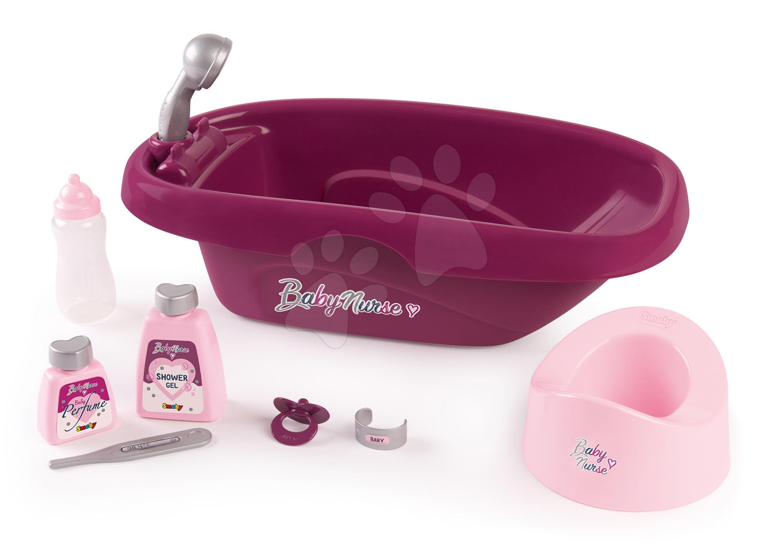 Accesorii pentru păpuși - Cădiță cu oliță și cosmeticee Violette Baby Nurse Smoby cu 8 accesorii pentru păpușă de 42 cm