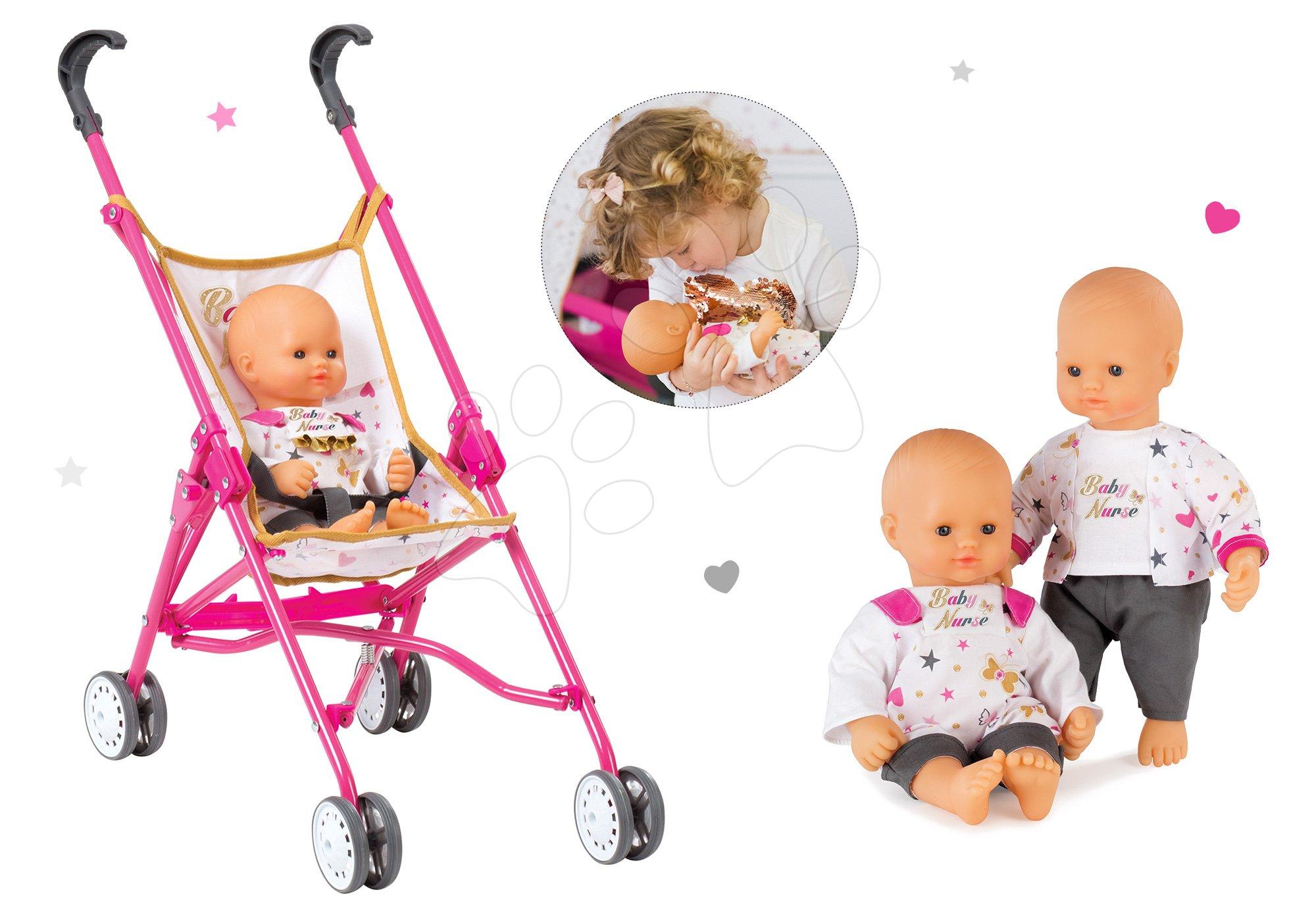 Set kočík a bábika Baby Nurse Smoby 220405 ružová
