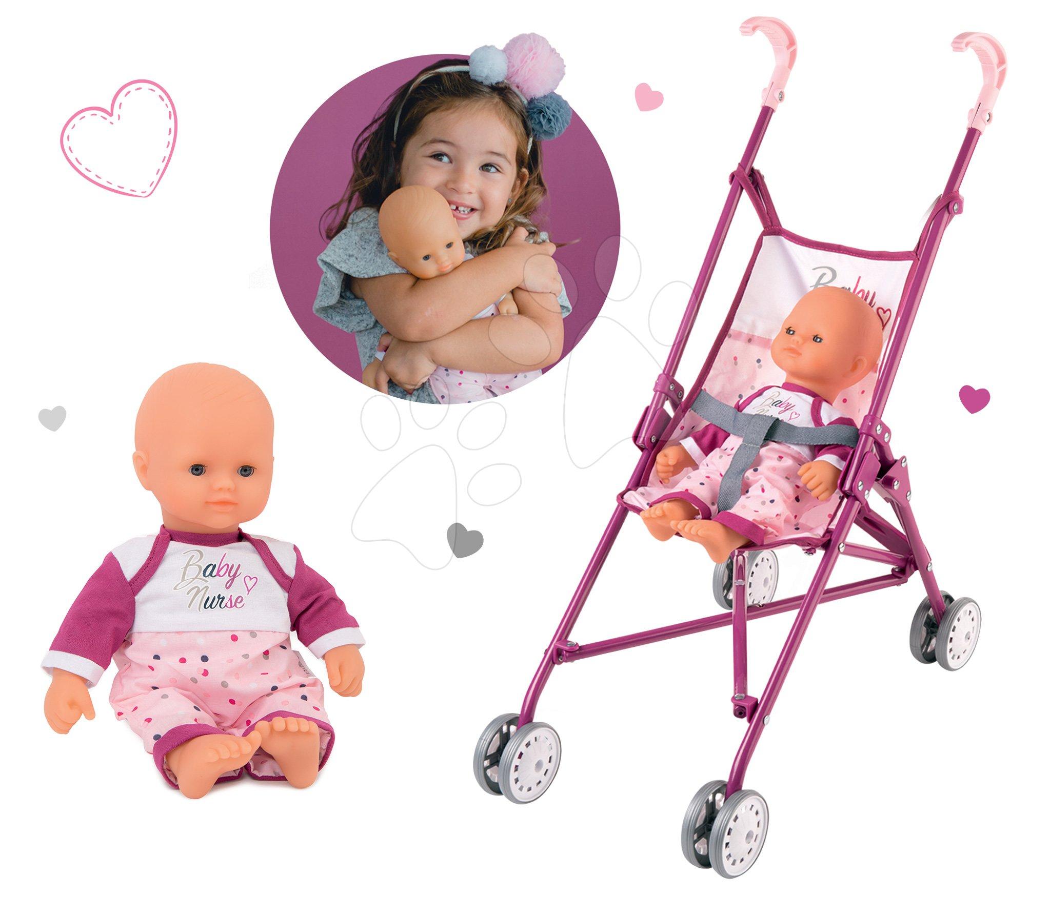 Set kočík pre bábiku golfky Violette Baby Nurse Smoby s bábikou (58 cm rúčka)