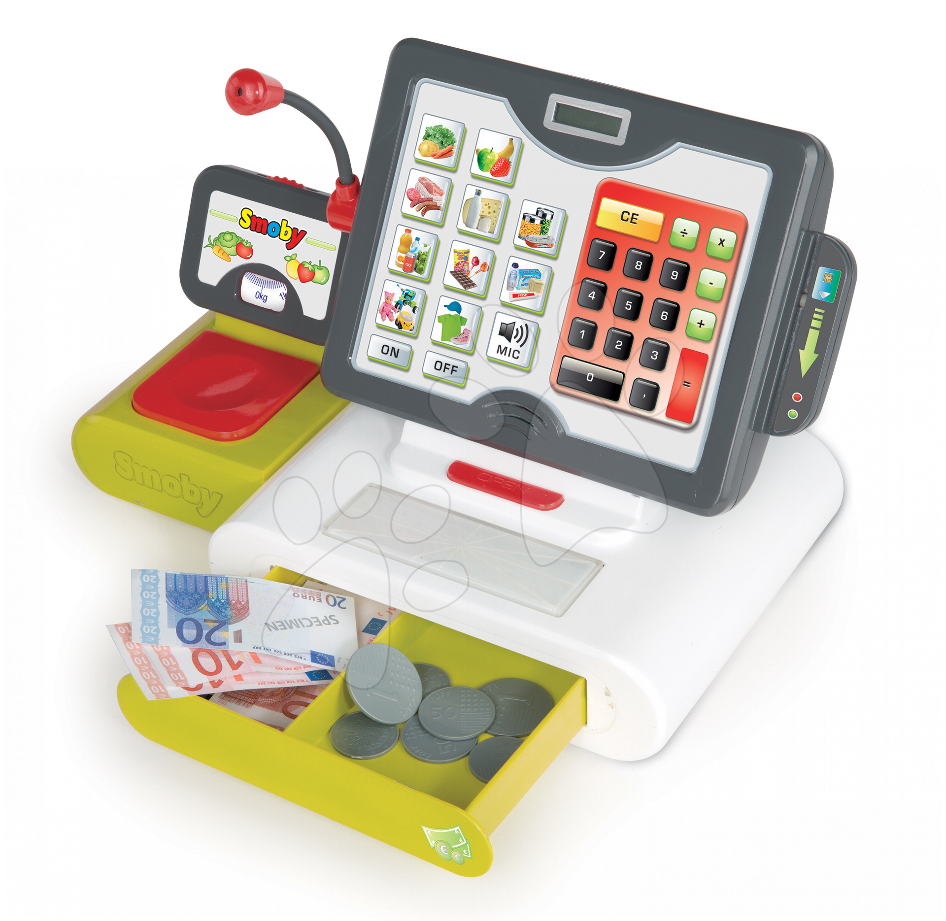 Dětská pokladna Smoby elektronická s dotykovou obrazovkou, zvukem a 25 doplňky zelená