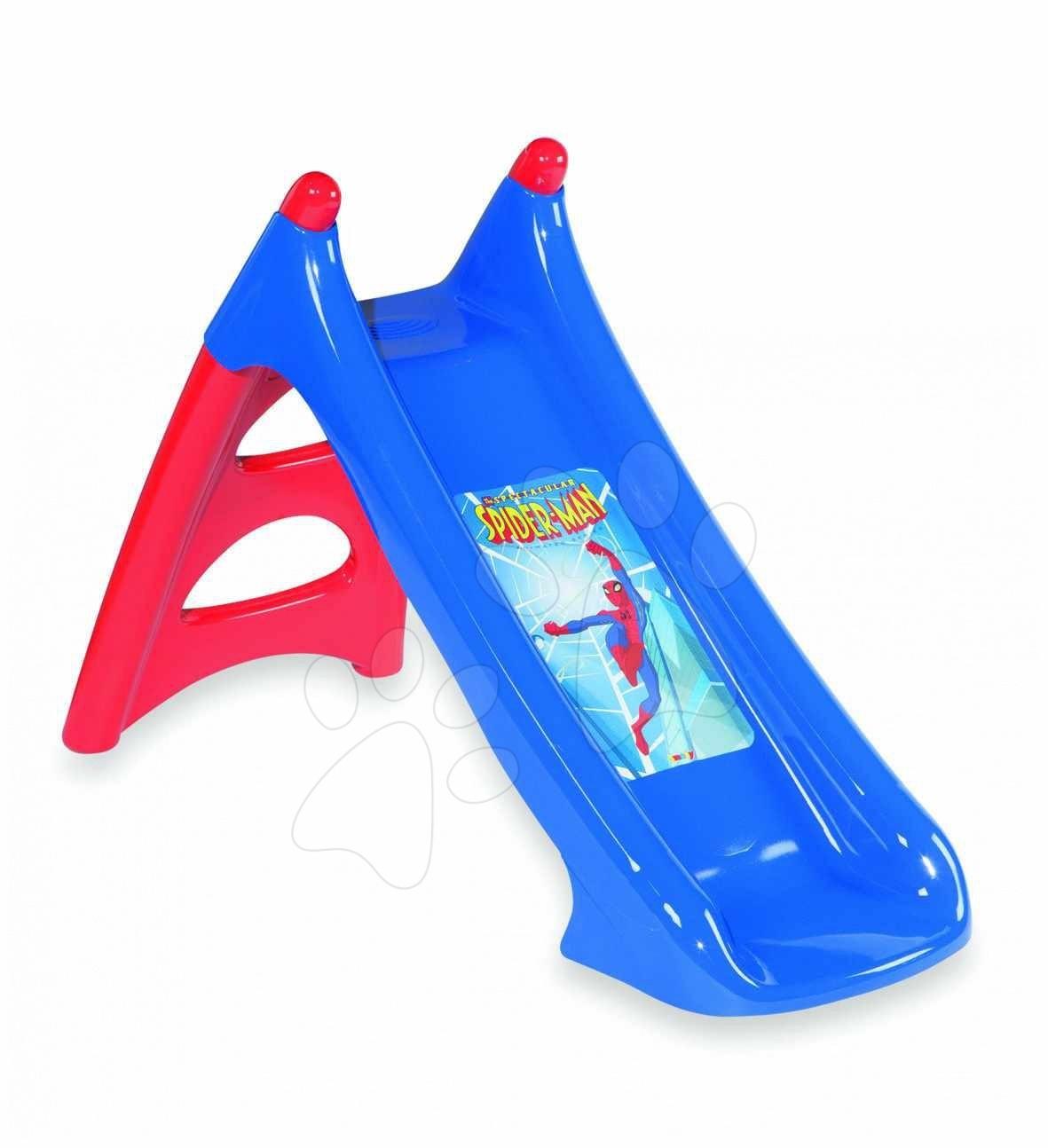 Tobogane pentru copii - Tobogan mic Spiderman Smoby cu filtru UV înălțime 90 cm suprafață de alunecare de 75 cm de la 24 de luni