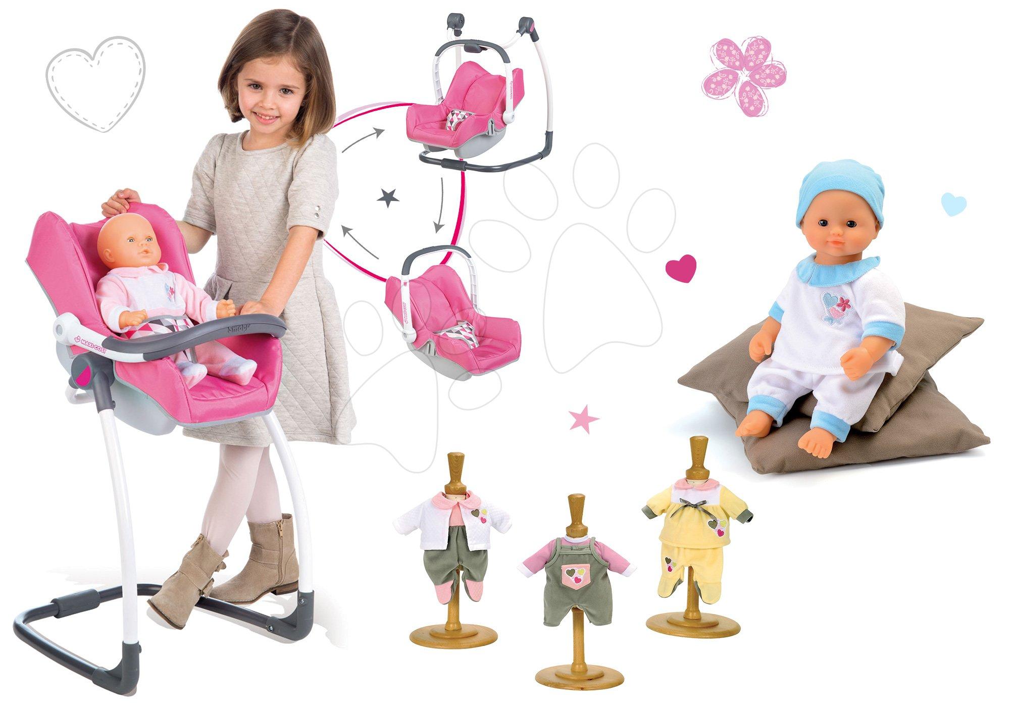 Kočíky pre bábiky sety - Set stolička, autosedačka a hojdačka pre bábiku retro Maxi Cosi & Quinny 3v1 Smoby bábika Baby Nurse 32 cm a 3 šiat