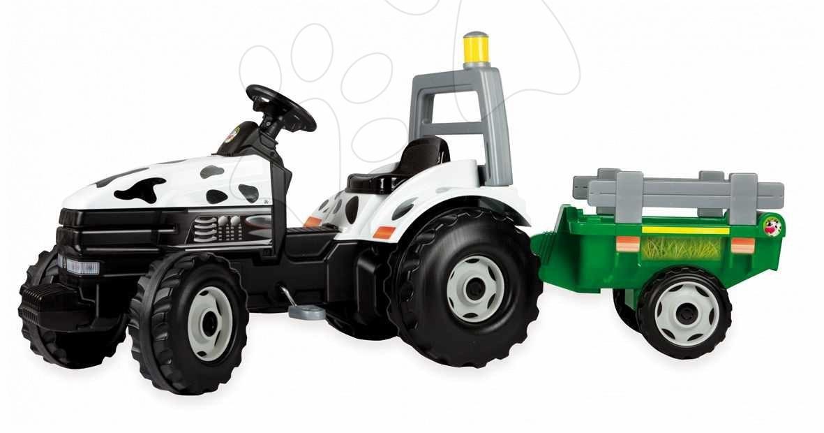 Produse vechi - Tractor cu pedale Vacă Smoby cu remorcă 166*73*55 cm