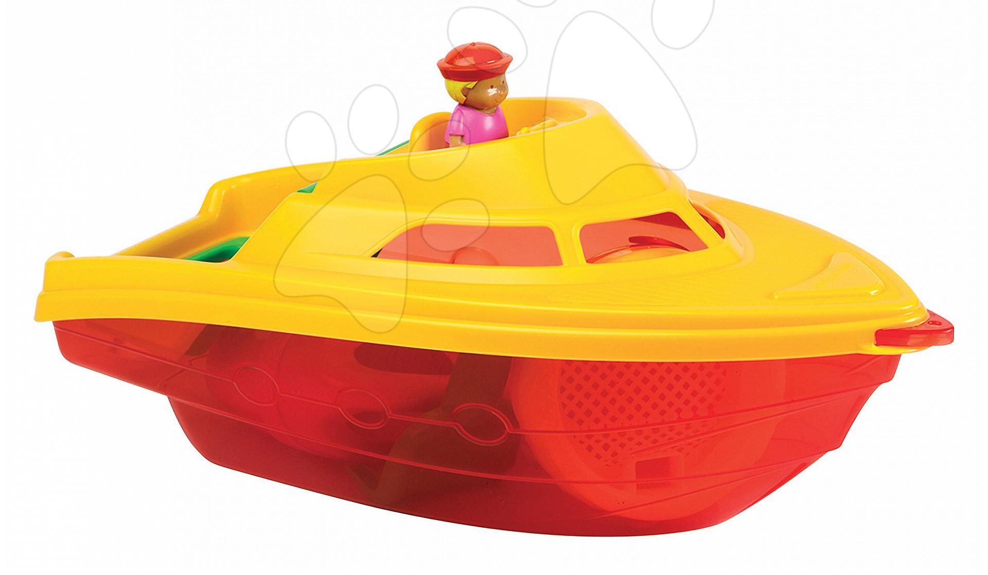 Lodě do písku - Člun s kbelík setem Écoiffier 6 dílů délka 35 cm červeno-žlutý od 18 měsíců