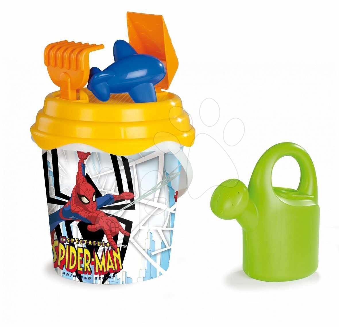 Produse vechi - Set de nisip în găleată Smoby cu stropitoare Spiderman 6 bucăţi 40 cm de la 18 luni