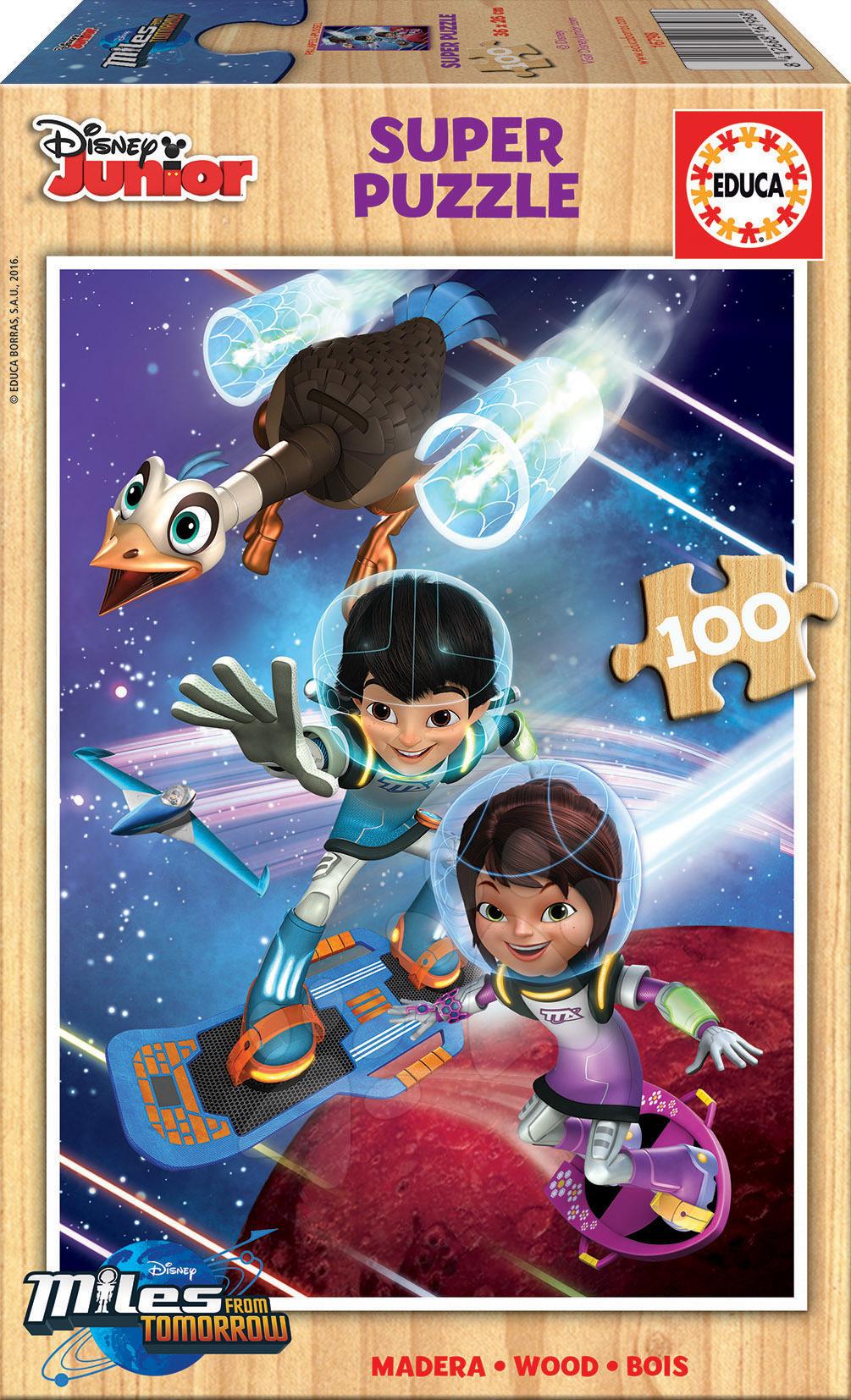 Drevené Disney puzzle - Drevené puzzle Miles from Tomorrow Educa 100 dielov od 5 rokov
