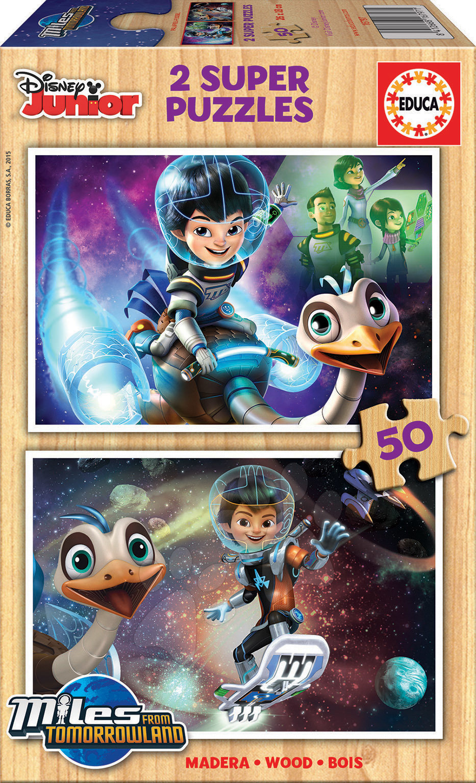 Drevené Disney puzzle - Drevené puzzle Miles from Tomorrow Educa 2x 50 dielov od 5 rokov