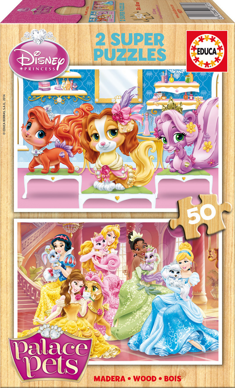 Drevené Disney puzzle - Drevené puzzle Zvierací palác Educa 2x50 dielov od 5 rokov