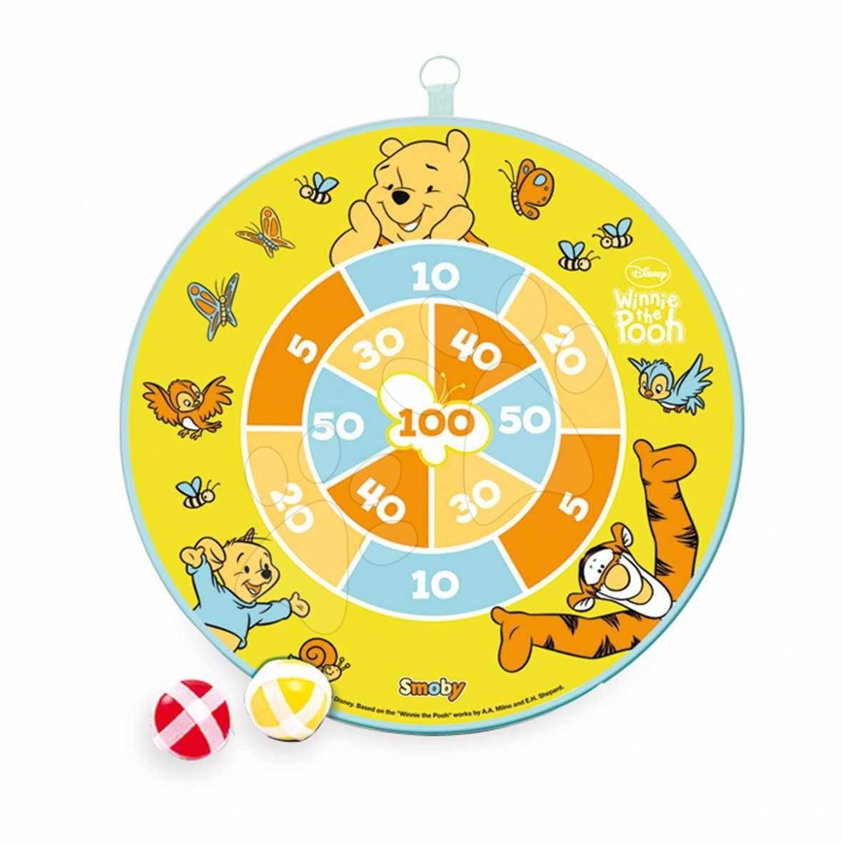 Staré položky - Terč Medvídek Pú na suchý zip Smoby s 2 míčky, s 2 šipkami, průměr 30 cm