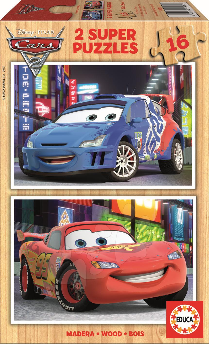 Dřevěné Disney puzzle - Dřevěné puzzle Auta 2 Educa 2x16 dílů