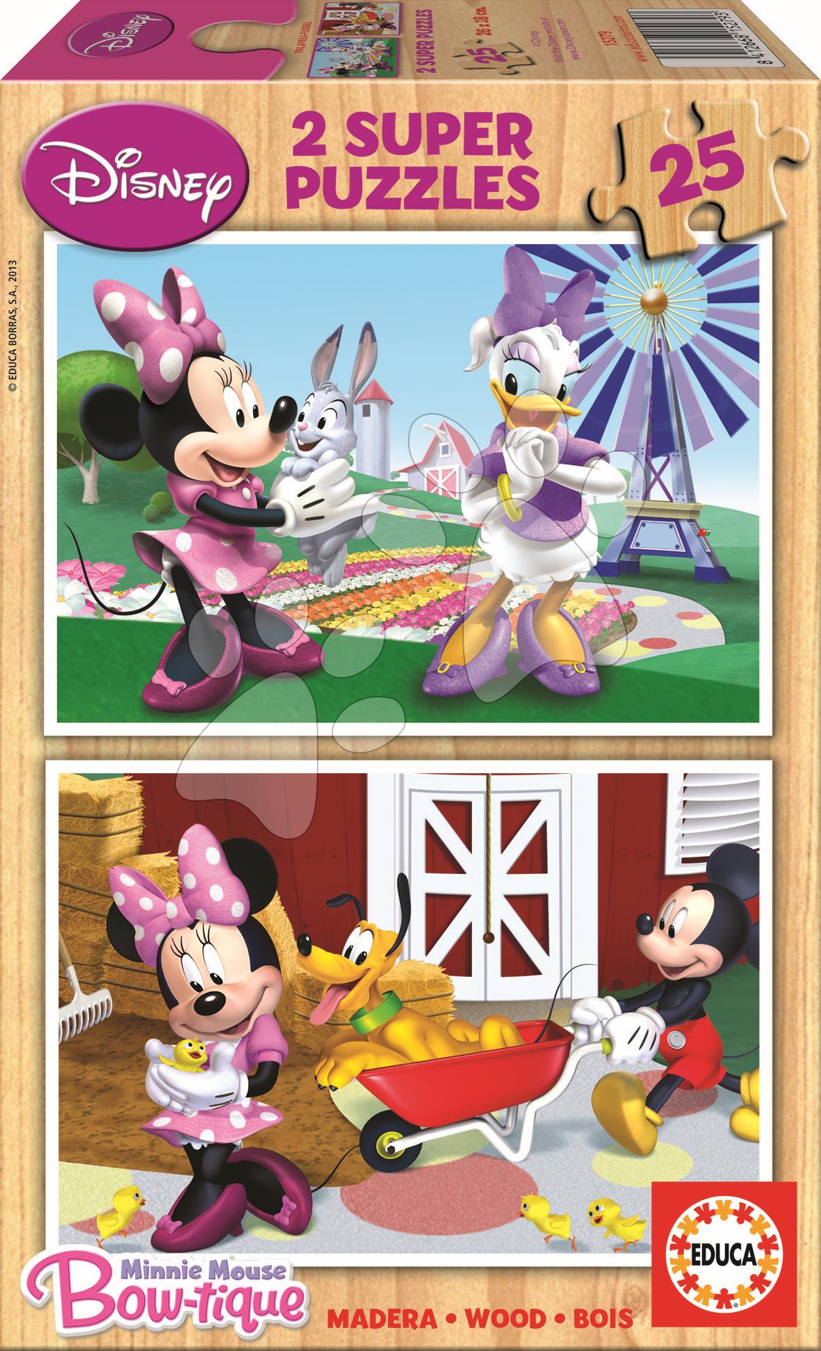 Drevené Disney puzzle - Drevené puzzle Minnie Mouse Educa 2x 25 dielov