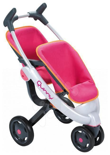 Babakocsi iker játékbabáknak Maxi Cosi & Quinny Twin Smoby (70 cm tolókar) rózsaszín-szürke