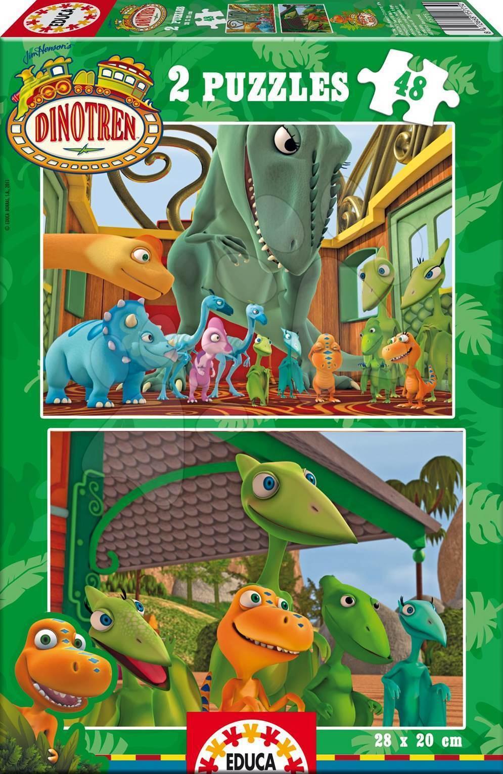 Detské puzzle do 100 dielov - Puzzle Dinotren Educa 2x 48 dielov