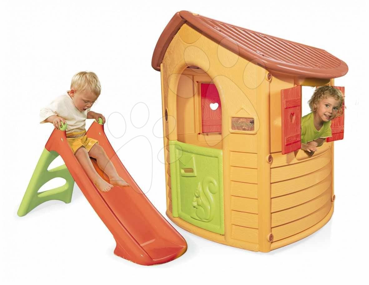 Hišice s toboganom - Smoby 310151 MAISON NATUR'HOME domček s UV FILTROM, 112*110*130 cm s XS šmyklavkou, 125*50*76 cm od 24 mes
