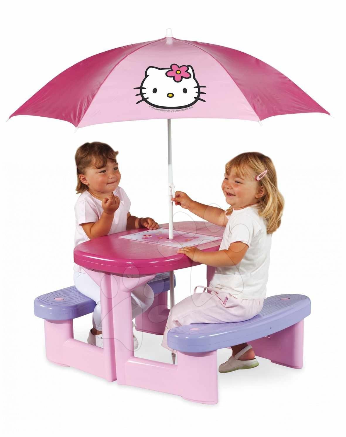Otroško vrtno pohištvo - Smoby 310164 TABLE PIC-NIC + PARASOL Piknikový stolík so slnečníkom Hello Kitty, s UV FILTROM, 74*85*47 cm od 24 mes