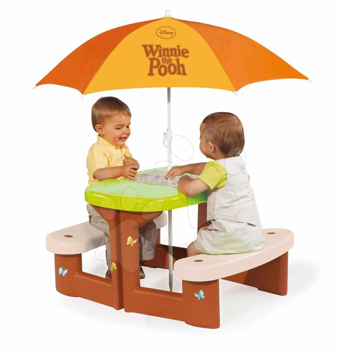 Stari vnosi - Smoby 310466 TABLE PIC-NIC + PARASOL Piknikový stolík so slnečníkom Macko Pooh, s UV FILTROM, , 74*85*47 cm od 24 mes