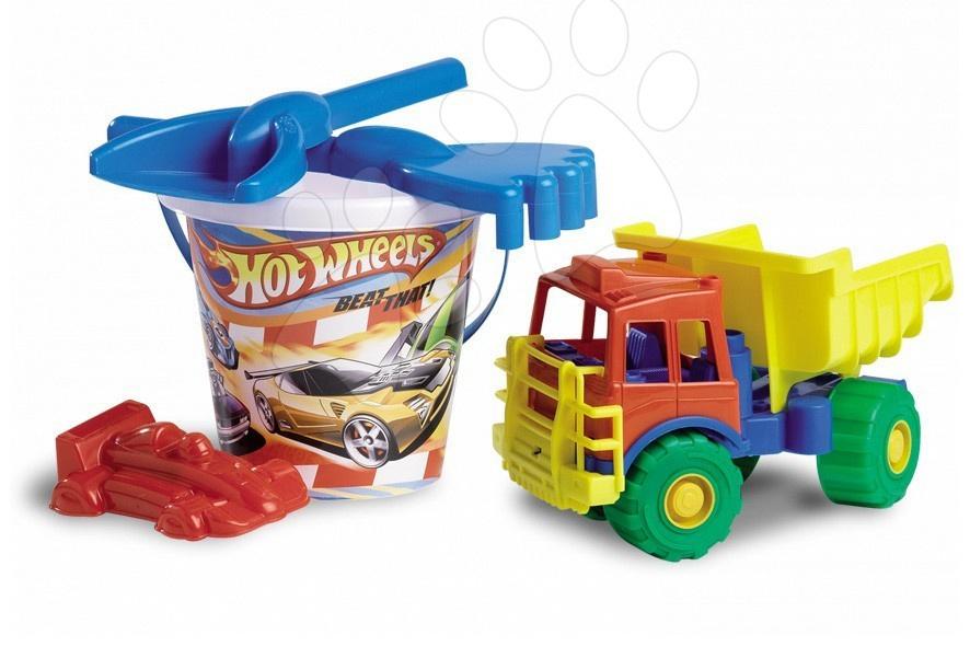 Vedierka do piesku - Vedro set s autom Hot Wheels Divertoys 5 dielov (výška 32 cm)