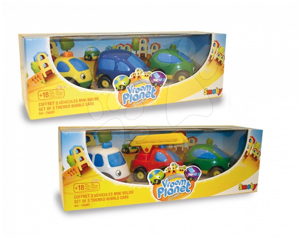 Autíčka pro děti Vroom Planet Smoby 3ks městské nebo pracovní délka 7 cm od 12 měsíců