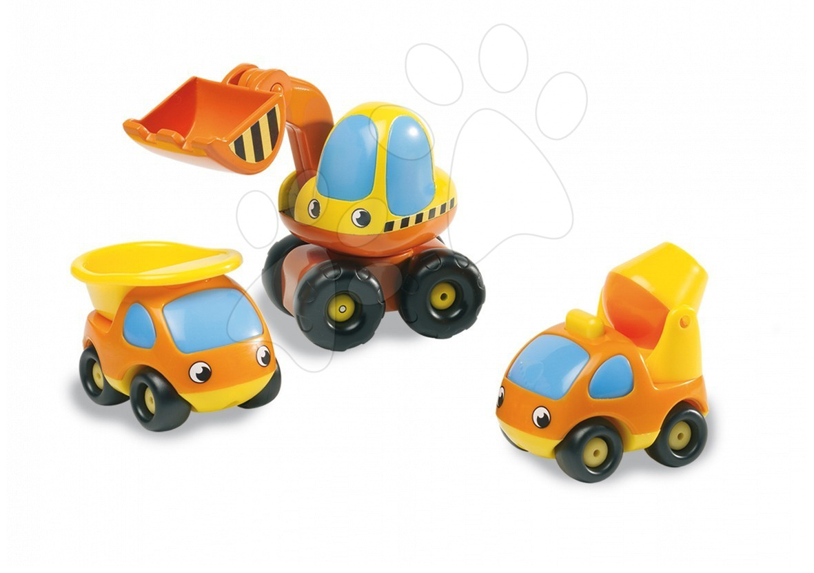 Szett 3 építőipari kisautó Vroom Planet Smoby buldózer, dömper, betonkeverő autó hossz 10 cm 12 hó-tól