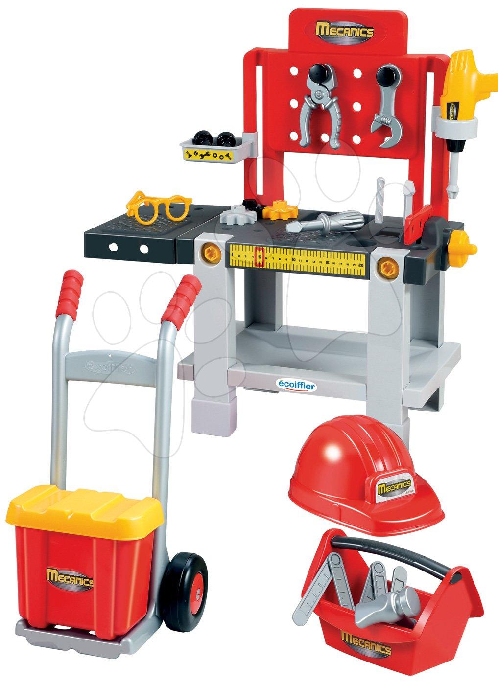 Pracovná dielňa Mecanics Écoiffier s rudlou a prilbou červená od 18 mes
