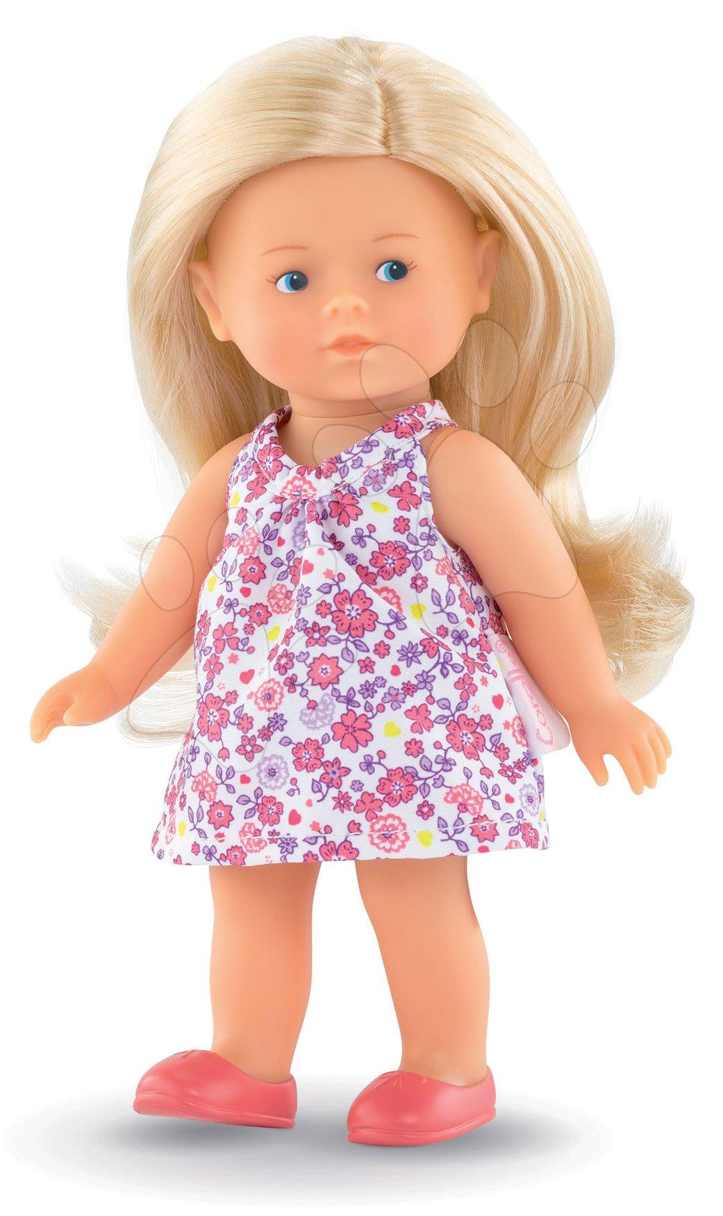 Hračky pro miminka - Panenka Mini Corolline Rosy Les Trendies Corolle s modrýma očima a růžové kytičky na šatech 20 cm od 3 let