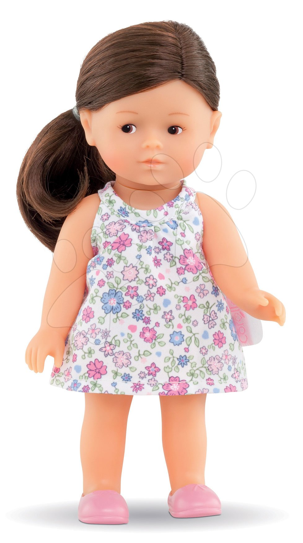 Hračky pro miminka - Panenka Mini Corolline Romy Les Trendies Corolle s hnědýma očima a modré kytičky na šatech 20 cm od 3 let