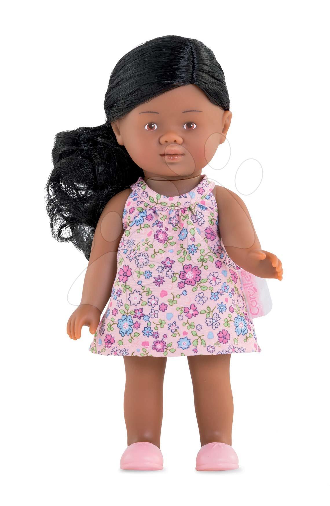 Hračky pro miminka - Panenka Mini Corolline Rosaly Les Trendies Corolle s hnědýma očima a fialové kytičky na šatech 20 cm