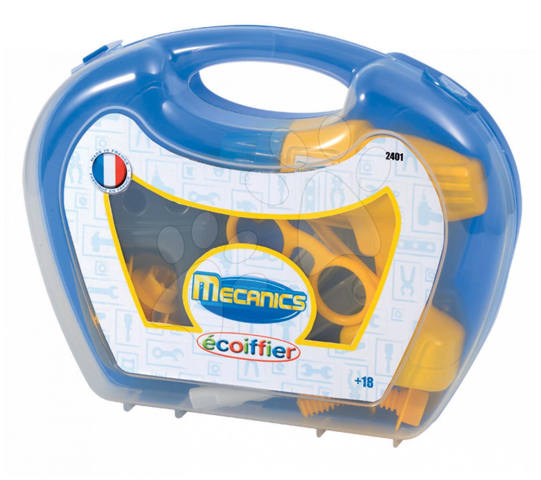 Pracovní kufřík Mechanics Écoiffier s vrtačkou a nářadím s 17 doplňky modrý od 18 měsíců