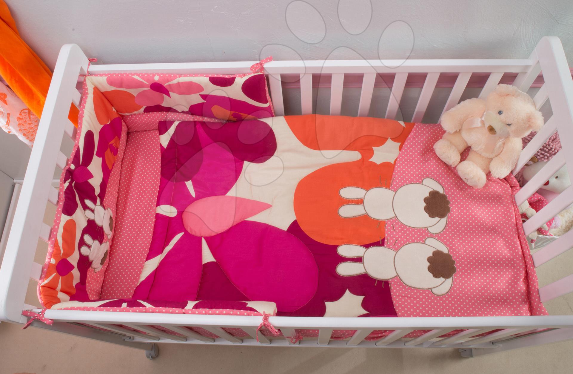 Súprava do postieľky Joy toTs-smarTrike zajačik paplónik, plachta a hniezdo 100% bavlnený satén ružová od 0 mesiacov