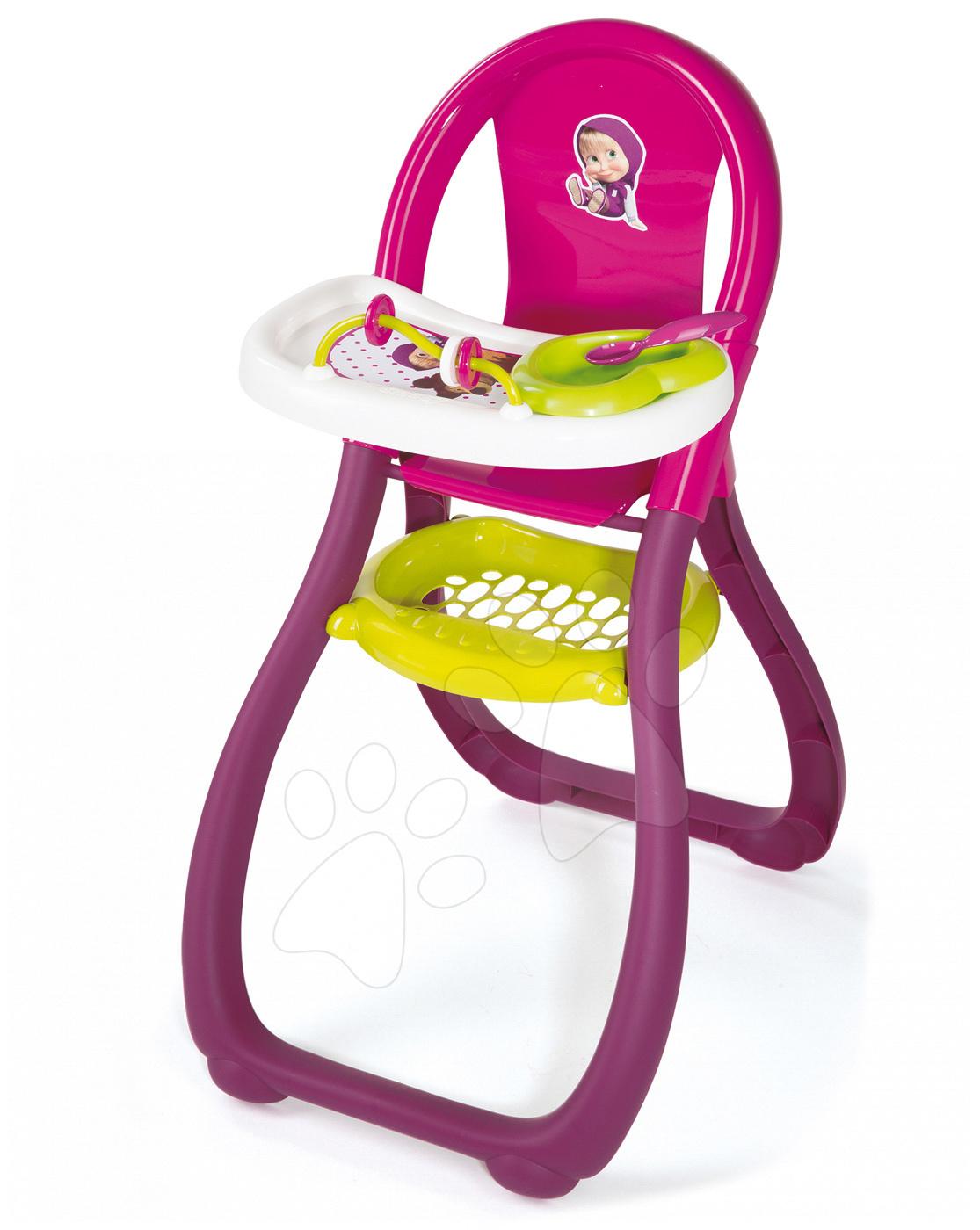 Stoličky pre bábiky - Jedálenská stolička Máša a medveď Smoby pre 42 cm bábiku s doplnkami od 18 mes