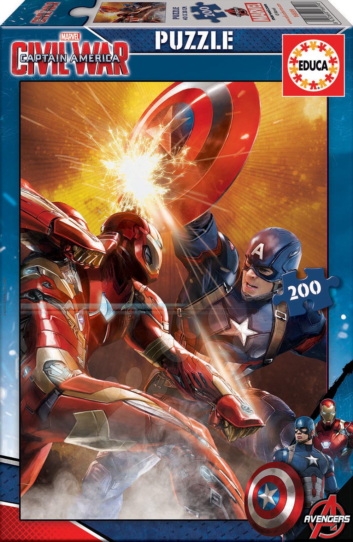 Detské puzzle od 100-300 dielov - Puzzle Captain America: Občianska vojna Educa 200 dielov od 6 rokov