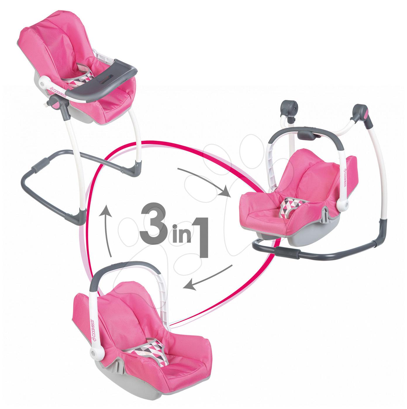 Sada houpačka, autosedačka a židle Maxi Cosi&Quinny Smoby pro panenku 3v1 retro růžová