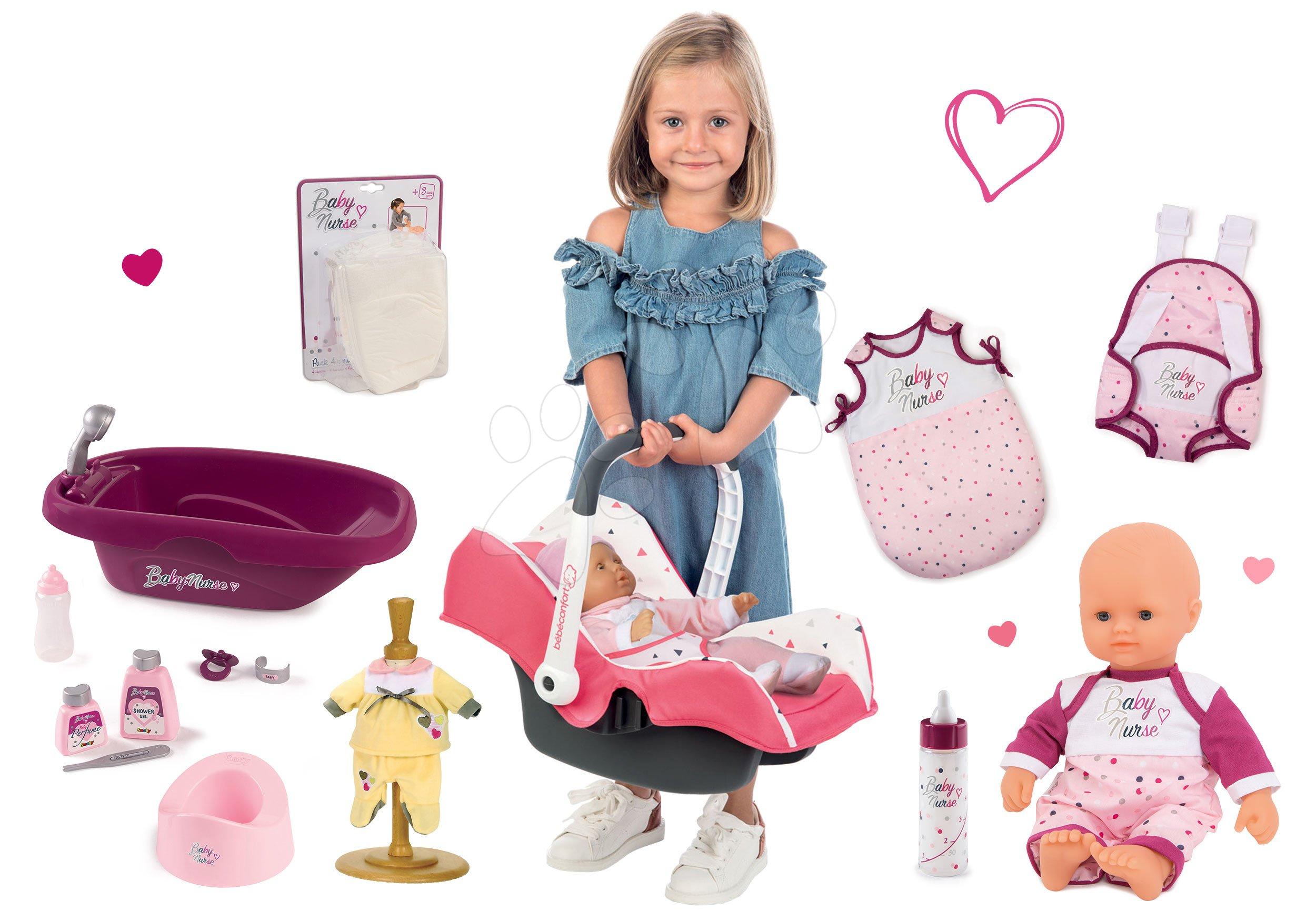 Set autosedačka Trio Pastel Maxi Cosi&Quinny Smoby a bábika a šatôčky Baby Nurse s klokankou vaničkou spacím vakom s fľaškou s pamperskami