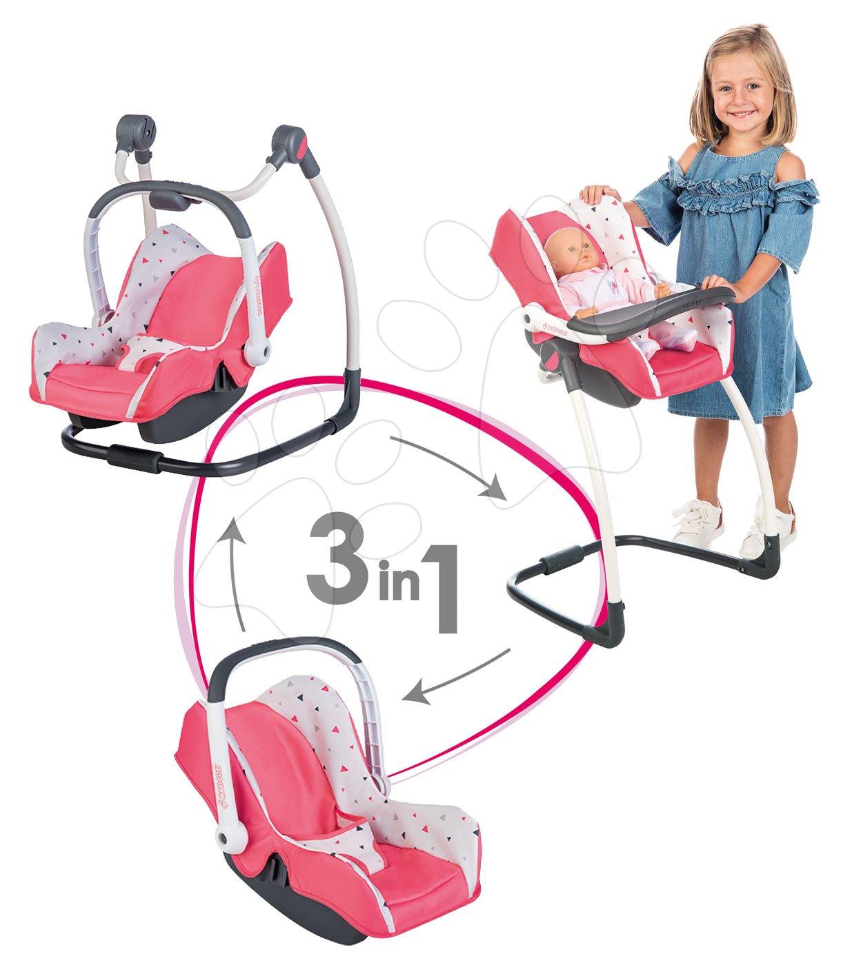 Combinaţie triplă leagăn scaun de maşină și scaun de masă Smoby Trio Pastel Maxi Cosi&Quinny pentru păpuşă roz