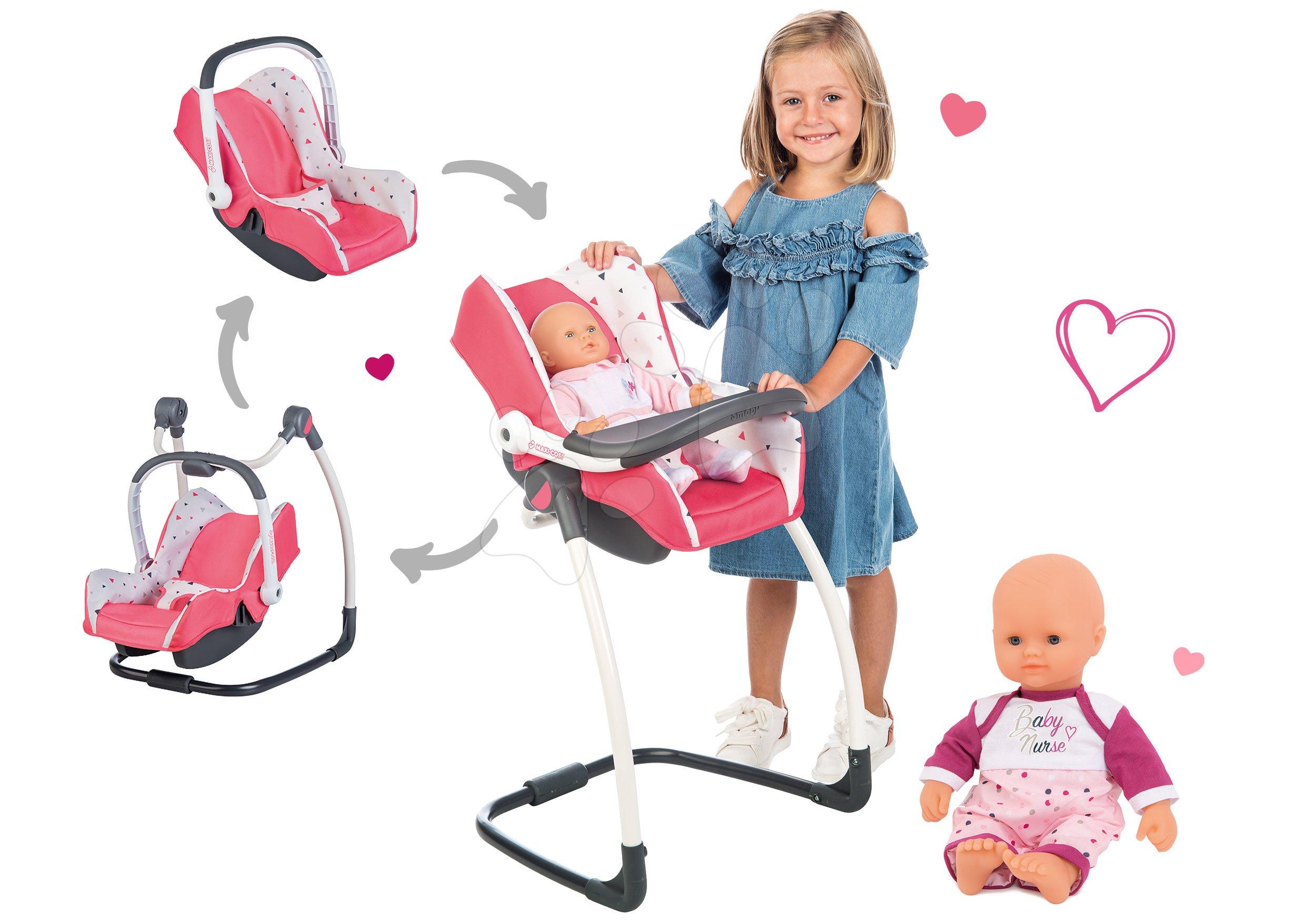 Set scaun de masă cu scaun auto și leagăn Trio pastel Maxi Cosi&Quinny Smoby și păpușa Violette Baby Nurse