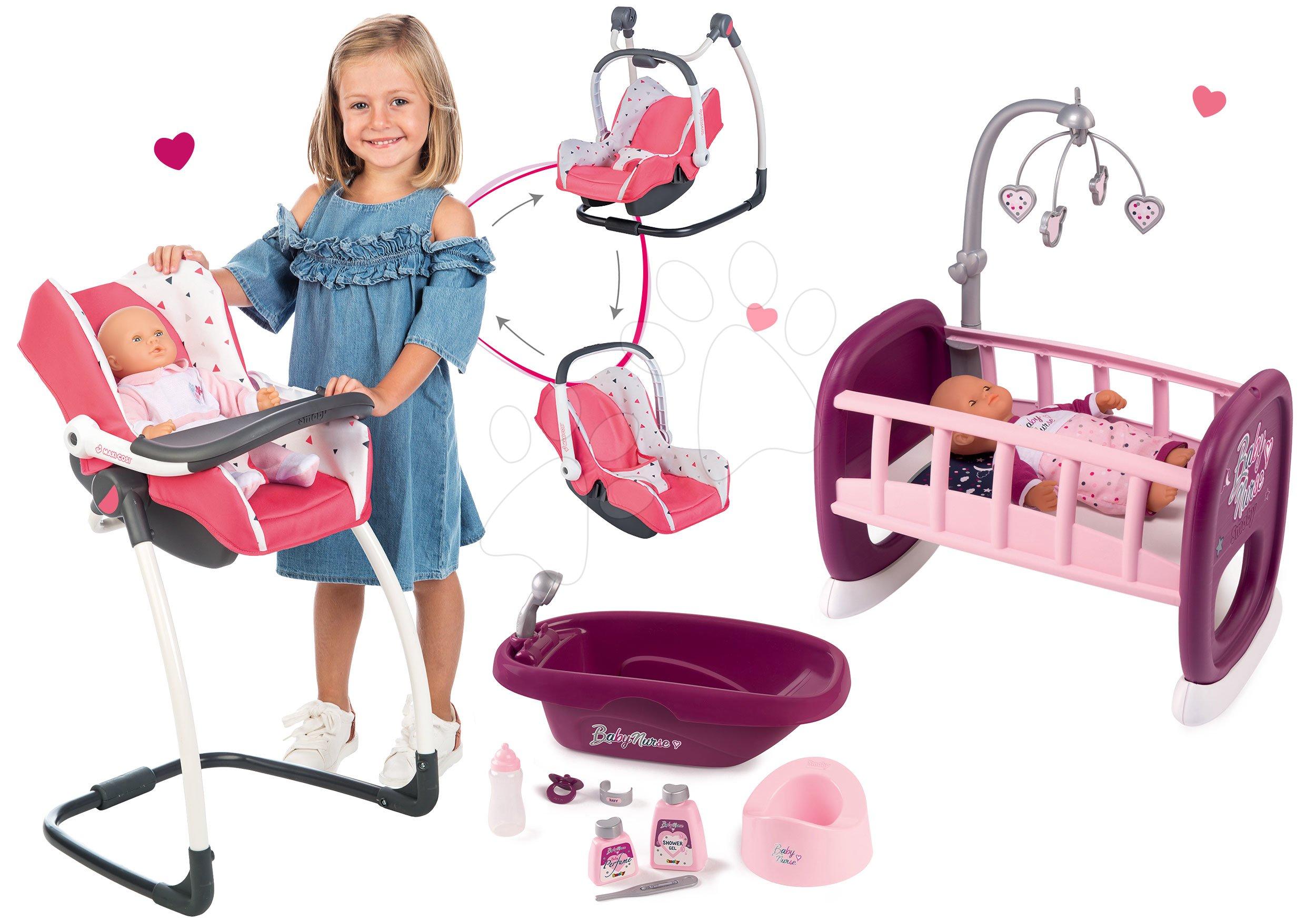 Set jídelní židle s autosedačkou a houpacka Trio Pastel Maxi Cosi&Quinny Smoby a panenka Baby Nurse s vaničkou s postýlkou