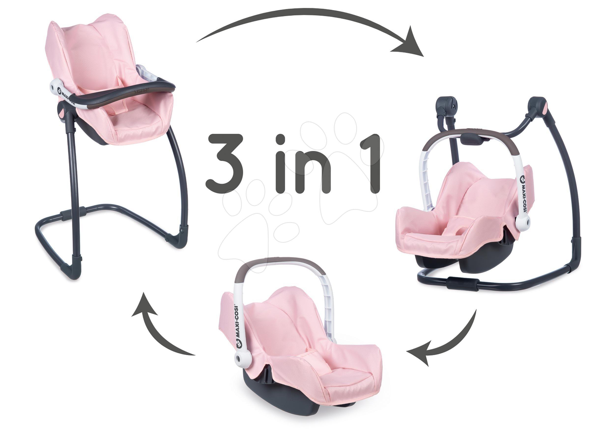 Jídelní židle s autosedačkou a houpačkou Powder Pink Maxi Cosi&Quinny Smoby trojkombinace s bezpečno