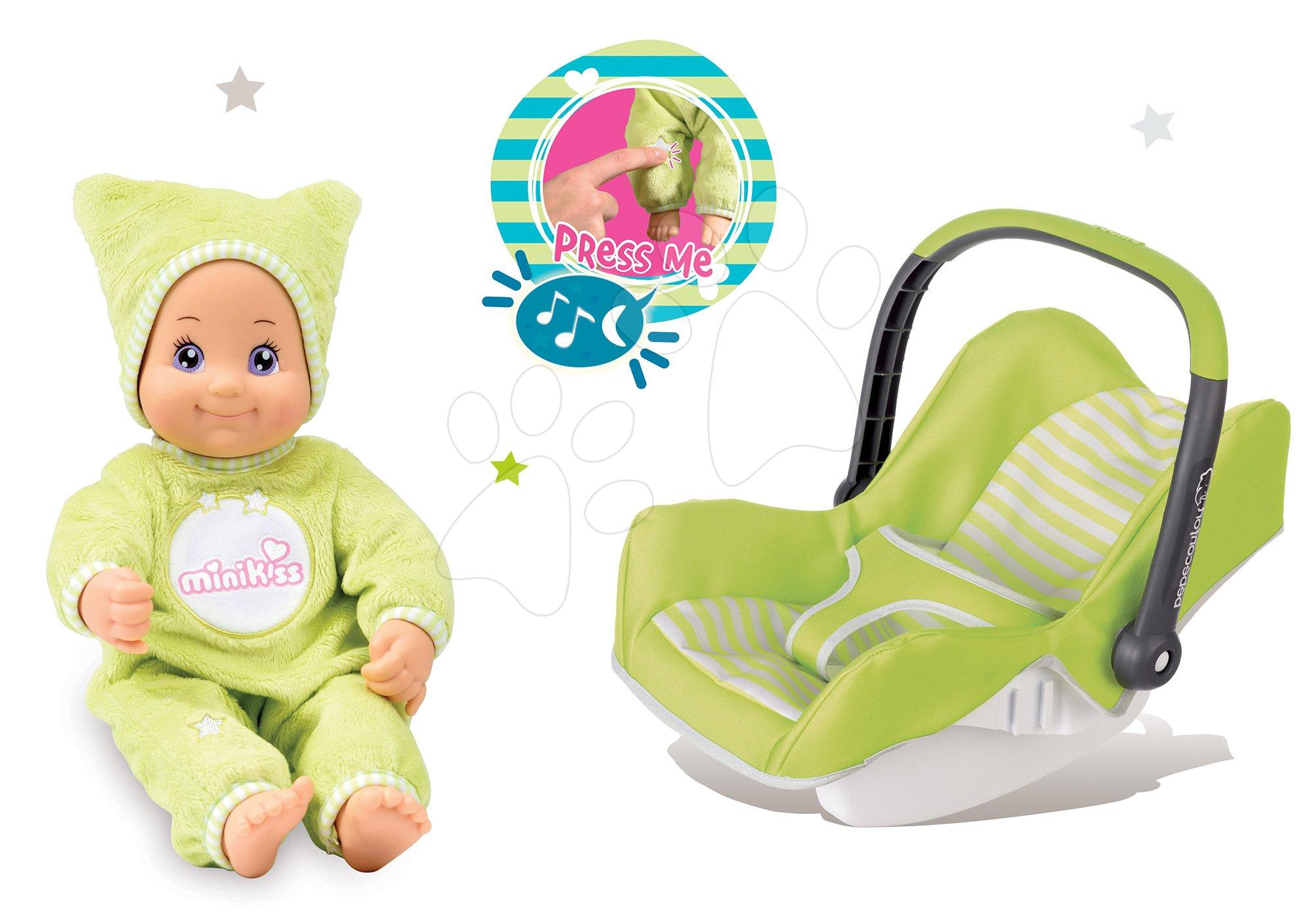 Set autosedačka Maxi Cosi&Quinny Smoby zelená a bábika Dodo do postieľky s hudbou a svetlom