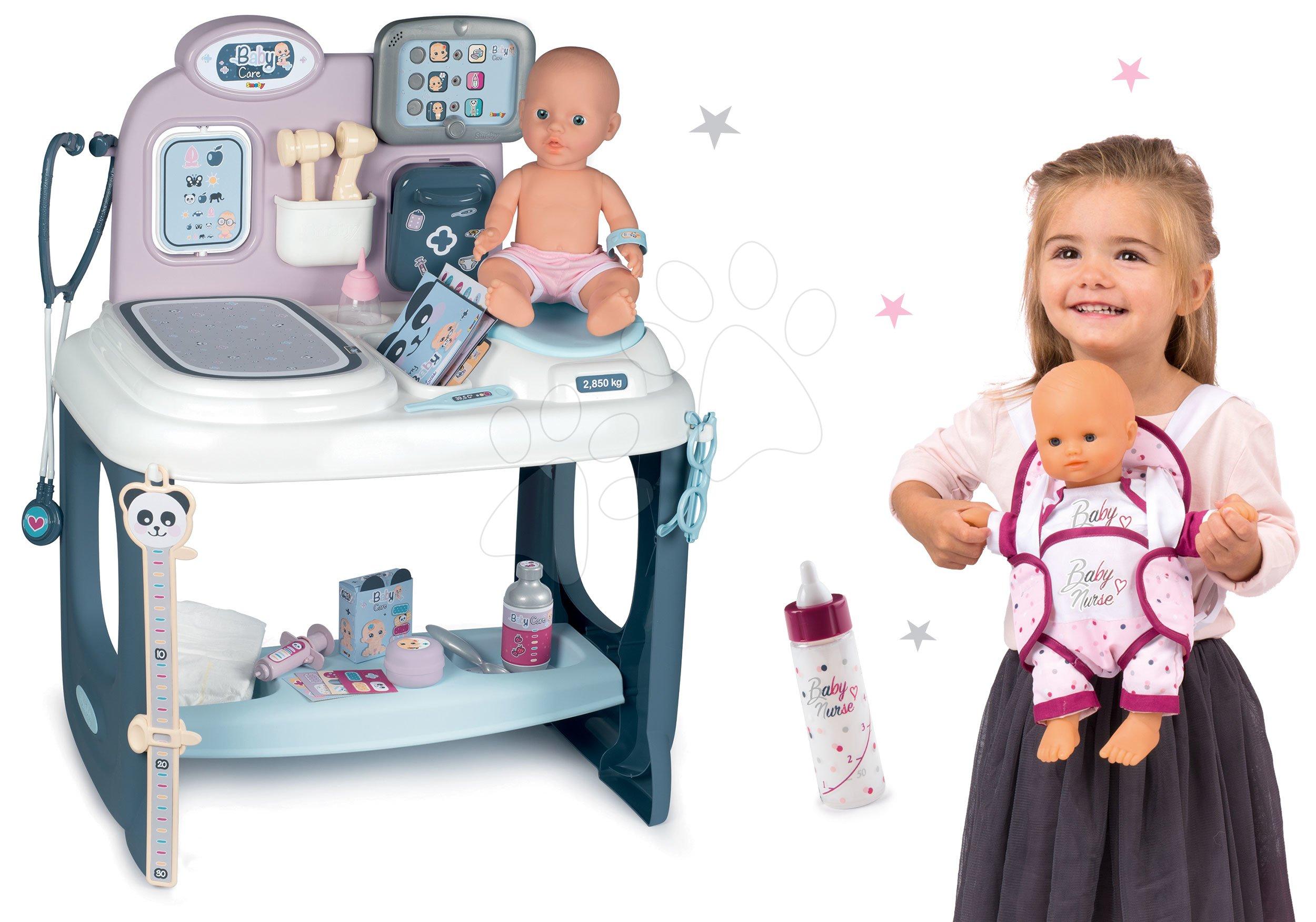 Set zdravotnícky pult pre lekára Baby Care Center Smoby s fľaškou a klokankou pre bábiku