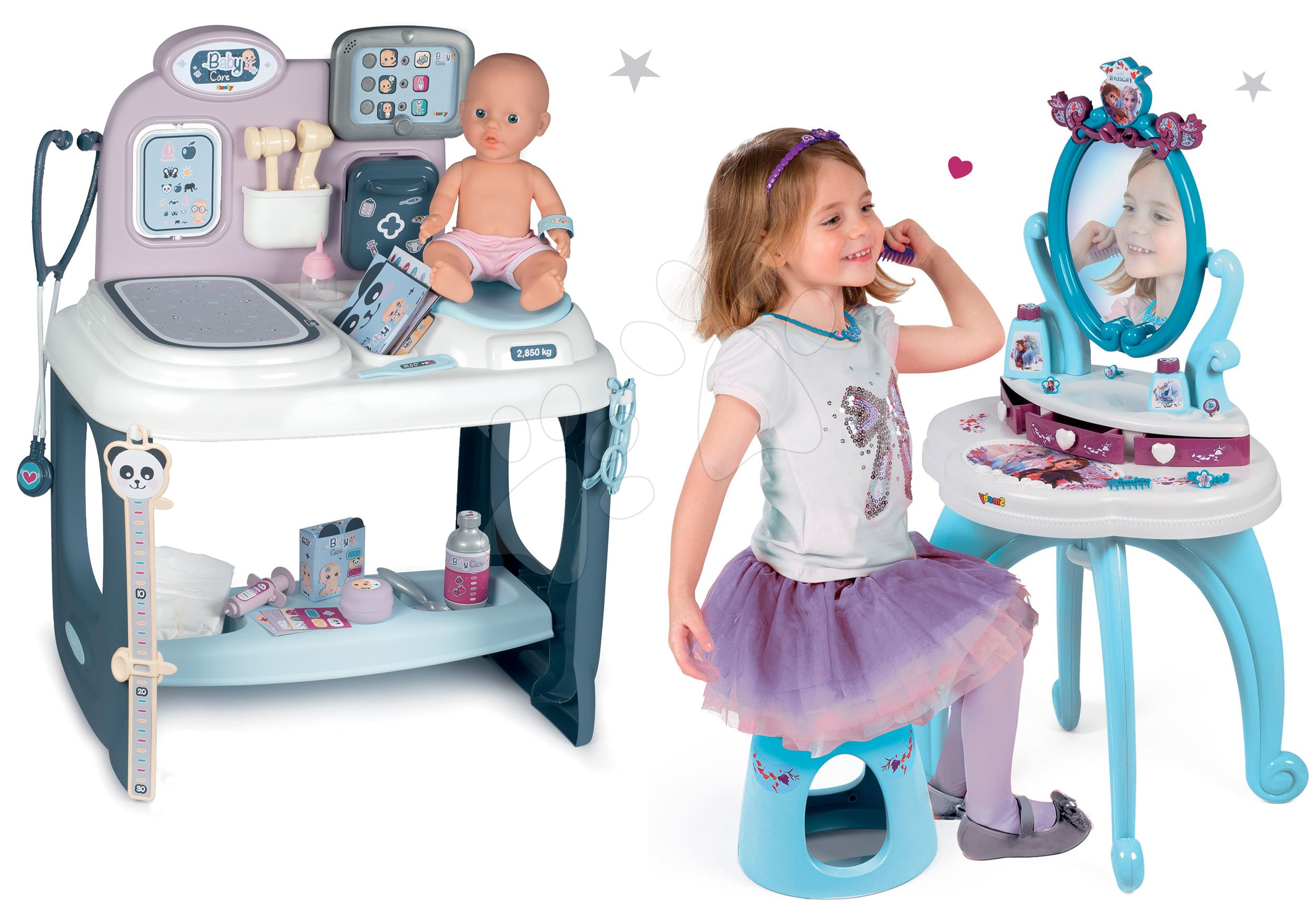 Set zdravotnícky pult pre lekára Baby Care Center Smoby s kozmetickým stolíkom Frozen