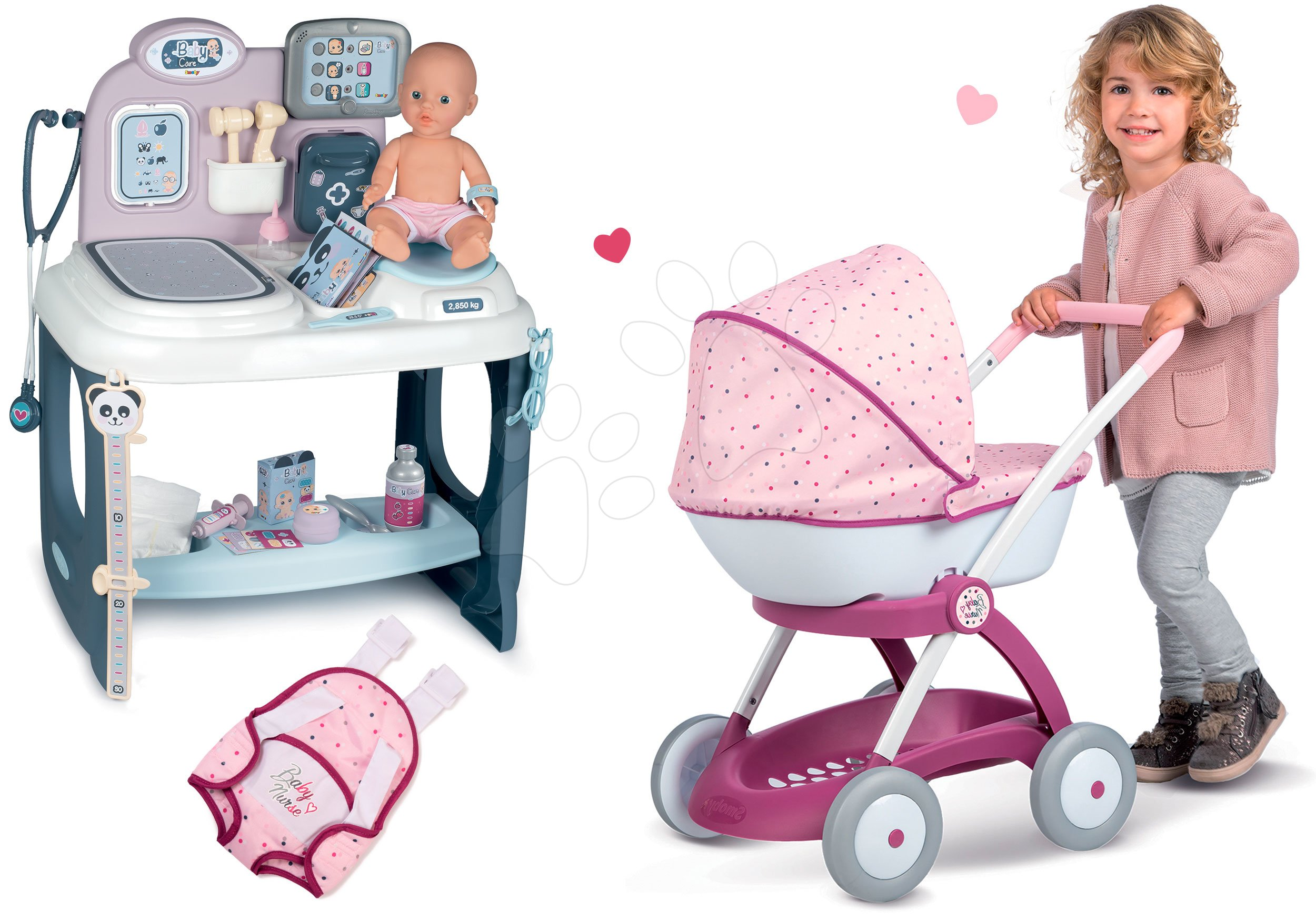 Set zdravotnický pult pro lékaře Baby Care Center Smoby s hlubokým kočárkem Baby Nurse a klokankou