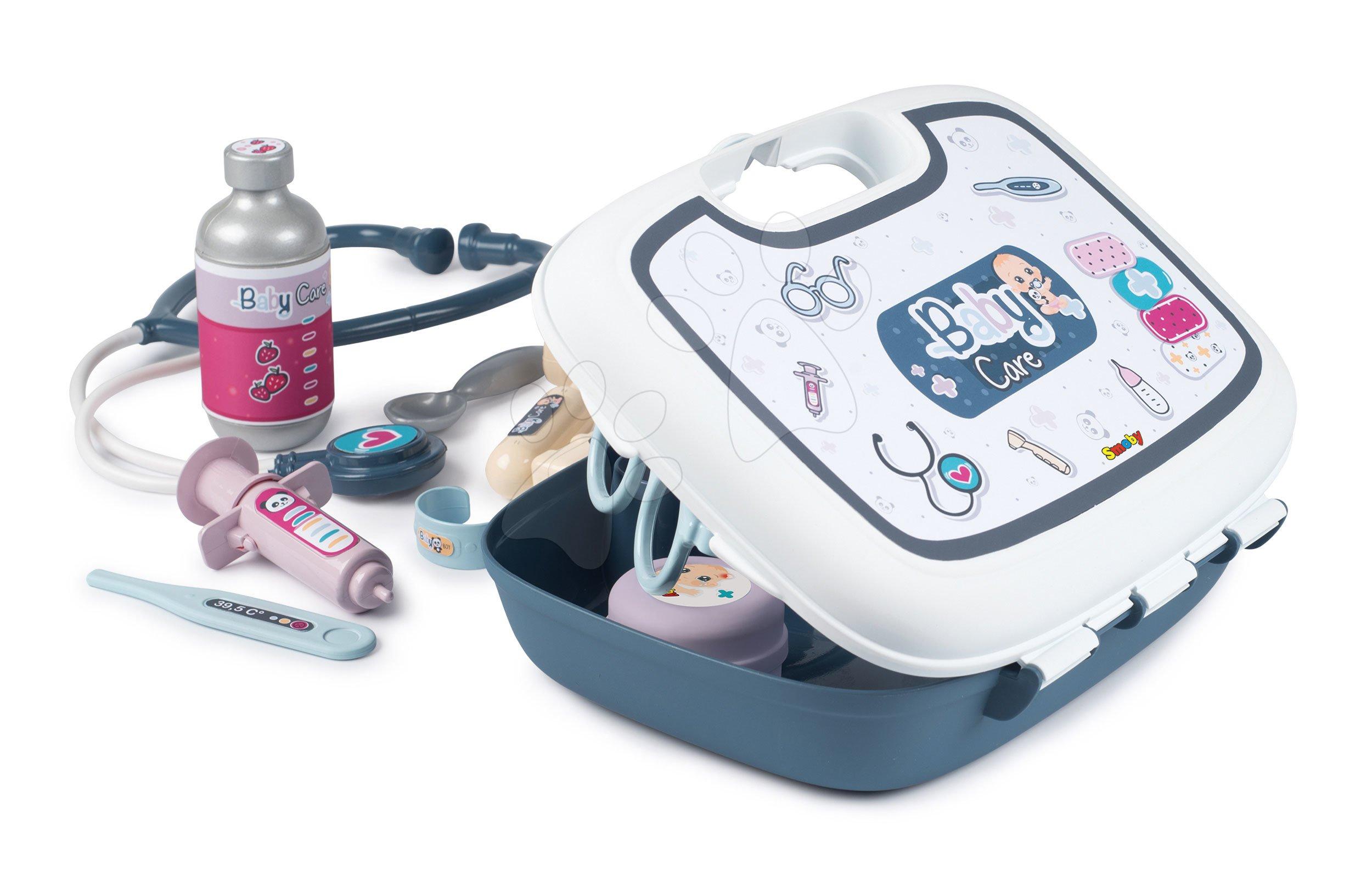 Zdravotnický kufřík pro sestřičku Baby Care Smoby s 19 doplňky a nálepkami