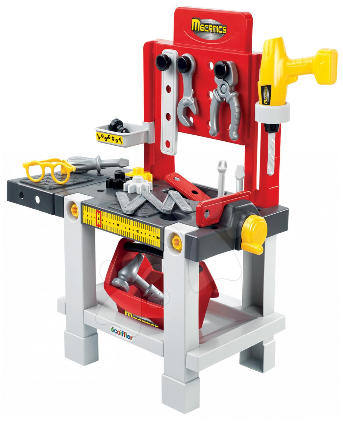 Masă de lucru Mecanics Écoiffier cu 22 de accesorii de la 18 luni
