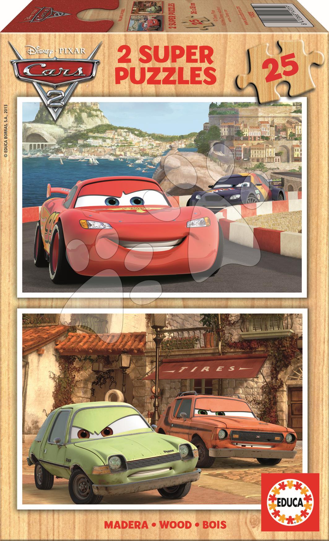 Dřevěné Disney puzzle - Dřevěné puzzle Auta 2 Educa 2x25 dílů