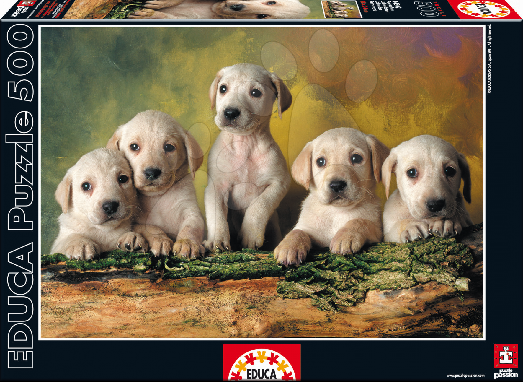 Puzzle 500 dílků - Puzzle Genuine Štěňata labradora Educa 500 dílů od 11 let