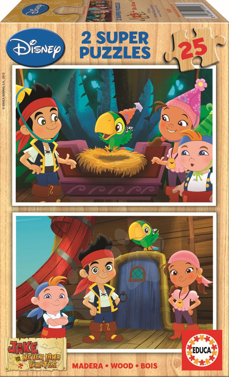 Drevené puzzle Jake a Piráti z Krajiny Nekrajiny Educa 2x 25 dielov