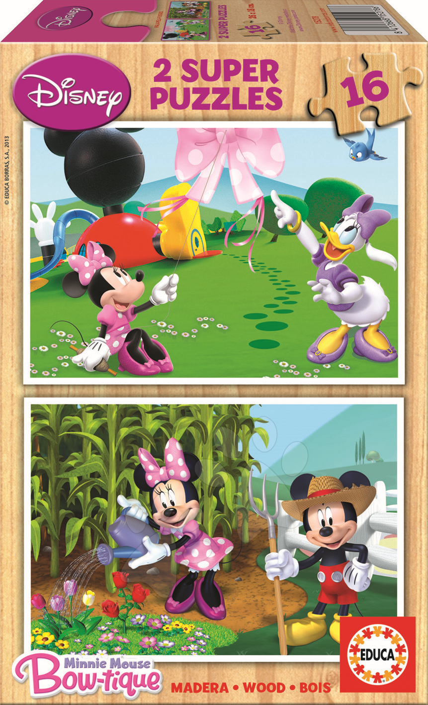 Drevené Disney puzzle - Drevené puzzle Minnie Mouse Educa 2x 16 dielov