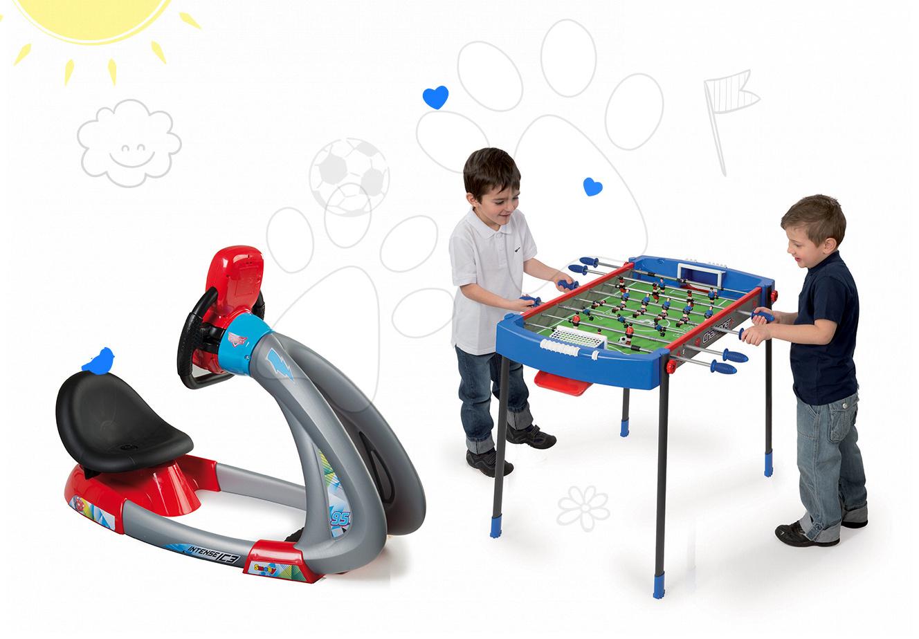 Set trenažér V8 Driver Smoby elektronický so zvukom a svetlom a futbalový stôl Challenger s 2 loptičkami
